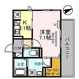 (仮称)D-room一乗寺高槻町 2階1Kの間取り