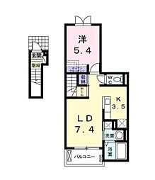 ルミエールA[2階]の間取り