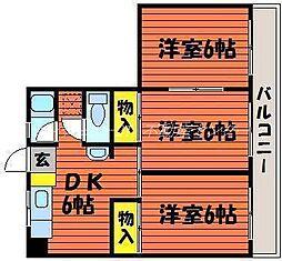 岡山県岡山市南区泉田2丁目の賃貸マンションの間取り