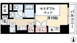 プログレンス栄 8階1Kの間取り