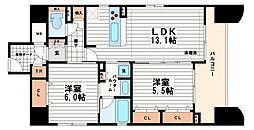 エステムコート船場プレミア[2階]の間取り