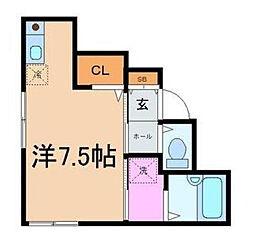 東京都新宿区上落合1丁目の賃貸アパートの間取り