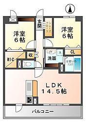 愛知県北名古屋市久地野幟立丁目の賃貸マンションの間取り