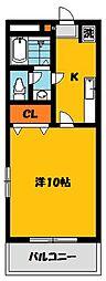 栃木県宇都宮市西原3の賃貸マンションの間取り