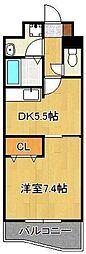 ベイプレイス小倉 12階1DKの間取り