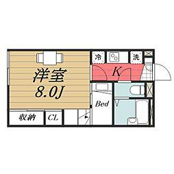 千葉県成田市三里塚光ケ丘の賃貸アパートの間取り