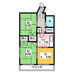 コシミズマンション 2階3DKの間取り