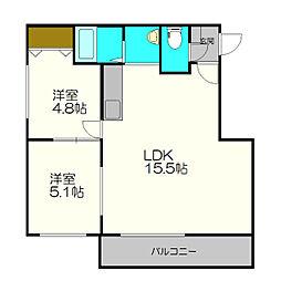 北海道札幌市白石区栄通5丁目の賃貸マンションの間取り