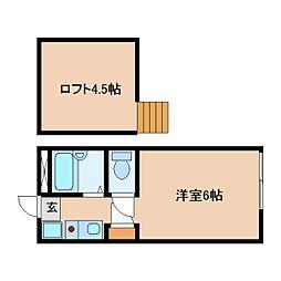 静岡県静岡市駿河区栗原の賃貸アパートの間取り