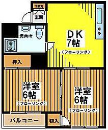 東京都世田谷区松原1丁目の賃貸マンションの間取り