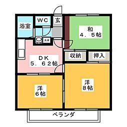 エクセル中田[1階]の間取り