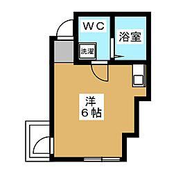グランシャリオ 3階ワンルームの間取り
