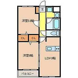 アンヴィラージュI[2階]の間取り