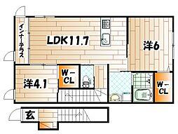 仮)八幡東区尾倉1丁目新築アパート[2階]の間取り