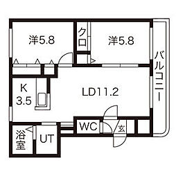 MYT16 3階2LDKの間取り