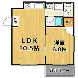 アトラスハイツ姫島[3A号室]の間取り