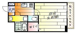モダンアパートメント江坂町 9階1Kの間取り