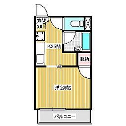 長野県伊那市上新田の賃貸アパートの間取り