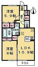 栃木県鹿沼市花岡町の賃貸アパートの間取り
