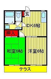 酒井根ガーデンハイツ[2階]の間取り