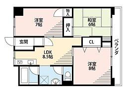 福岡県北九州市小倉南区志井6丁目の賃貸マンションの間取り