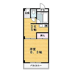 大阪府四條畷市中野本町の賃貸マンションの間取り
