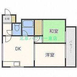 北海道札幌市東区北三十六条東2丁目の賃貸マンションの間取り
