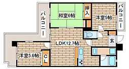 兵庫県神戸市長田区水笠通1丁目の賃貸マンションの間取り