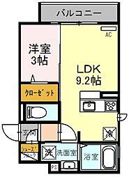 クレアージュ玉井 2階1LDKの間取り