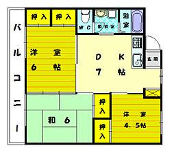 三苫ハイツ1号館[1階]の間取り