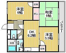 西取石ハイツ[3階]の間取り