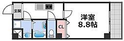 KSロイヤル大阪城 8階1Kの間取り
