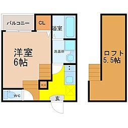 愛知県名古屋市瑞穂区上坂町1丁目の賃貸アパートの間取り