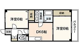 広島県広島市中区江波本町の賃貸マンションの間取り