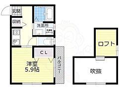 南海線 高石駅 徒歩3分の賃貸アパート 1階ワンルームの間取り