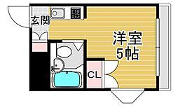 トーエー高井田ビル 3階ワンルームの間取り