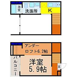愛知県名古屋市中村区小鴨町の賃貸アパートの間取り