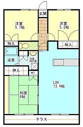 コーナス・ガーデンA棟[1階]の間取り