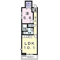 近鉄長野線 富田林西口駅 徒歩7分の賃貸アパート 1階1LDKの間取り