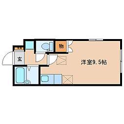 静岡鉄道静岡清水線 県総合運動場駅 徒歩25分の賃貸アパート 1階ワンルームの間取り