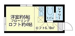 神奈川県横浜市鶴見区潮田町4丁目の賃貸アパートの間取り