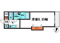 Luxe都島II 2階1Kの間取り