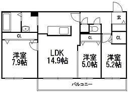 北海道札幌市南区澄川二条3丁目の賃貸マンションの間取り