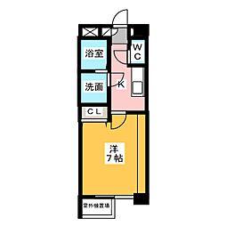 パークレジデンス名古屋大学前 3階1Kの間取り