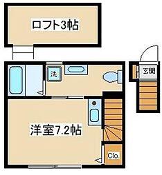 Fille Flats-KYODO(フィユフラッツ経堂) 2階ワンルームの間取り