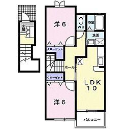 鹿児島県南さつま市加世田武田の賃貸アパート 2階2LDKの間取り