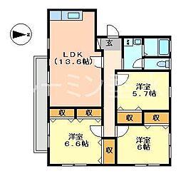 兵庫県神戸市垂水区山手1丁目の賃貸アパートの間取り