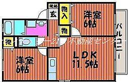 岡山県岡山市東区富士見町1丁目の賃貸アパートの間取り