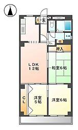愛知県名古屋市北区西味鋺4丁目の賃貸マンションの間取り