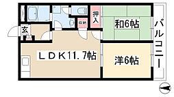 愛知県尾張旭市城山町三ツ池6160丁目の賃貸マンションの間取り
